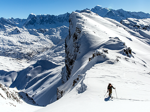 splitboarding in chamonix with a snowboard instructor