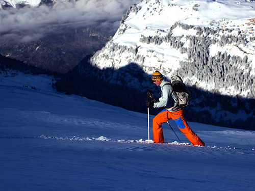 telemark touring in chamonix with a ski instructor
